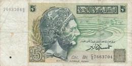 Tunisie - Billet De 5 Dinars - 7 Novembre 1993 - Hannibal - Tunisie