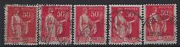 France 1932-33  Paix (o) Yvert 283 (type I,IIA,IIB,III + IV) - 1932-39 Peace