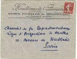 ENVELOPPE A EN-TETE HOUILLERES DE L'AVEYRON BASSIN DE DECAZEVILLE PAR FLAGNAC - 1921-1960: Moderne