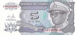 Zaïre - Billet De 5 Nouveaux Makutas - 24 Juin 1993 - Mobutu - Neuf - Zaïre