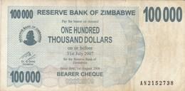 Zimbabwe - Billet De 100000 Dollars - 1er Août  2006 - Zimbabwe