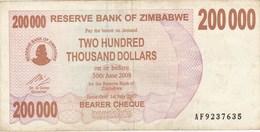 Zimbabwe - Billet De 200000 Dollars - 1er Juillet 2007 - Zimbabwe