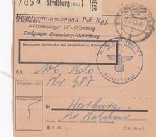 Paketkarte Du Stammlager V C, Zweiglager Straßburg Obl STRASSBURG (ELS) 1 Du 19.3.43 Adressée à Horburg - Postmark Collection (Covers)