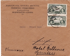 Lettre Pologne Pabianice Pabjanice Poland Polska Suisse Spółka Akcyjna Przemysłu Chemicznego - 1919-1939 Republik