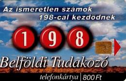 TARJETA TELEFONICA DE HUNGRIA. 198, TUDAKOZÓ. OFICINA DE CONSULTAS. HU-P-2000-22. (184) - Hungría
