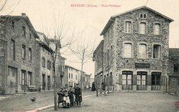 CPA - BRUSSIEU (69) - Aspect De L'Hôtel Et De La Charcuterie De La Place Publique Au Début Du Siècle - France