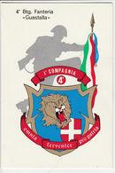 3) 4° BATTAGLIONE FANTERIA GUASTALLA CARTONCINO AUGURALE 11,5 X 17 Cm - Militari