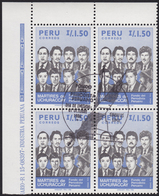 PERU 1986 «Peruanic Journalists Help-fund» - Block Of 4 With Central Official FD Postmark - Mi# 1338 - Peru