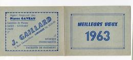 Limoges (87 Haute Vienne) Calendrier J GAILLARD 1963 (musique, Instruments Pianos Gaveau)  (PPP15590) - Calendars