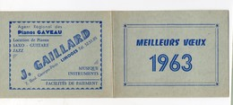 Limoges (87 Haute Vienne) Calendrier J GAILLARD 1963 (musique, Instruments Pianos Gaveau)  (PPP15590) - Calendarios