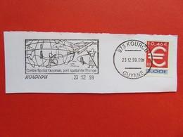Flamme - Kourou - Guyane - Centre Spatial - Port Spatial De L'Europe - 23.12.99 - Timbre Symbole Euro - Marcophilie (Lettres)