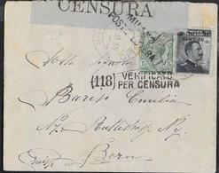 STORIA POSTALE REGNO - BUSTA DA MAGREGLIO 08.09.1916 PER BERNA(SVIZZERA) - CENSURA - 1900-44 Vittorio Emanuele III
