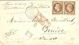 """1870- Enveloppe De Constantinople Affr. Paire N°31  Pour Genève ( Suisse )  """" Paquebots / De La / Méditérrannée """" - 1849-1876: Periodo Clásico"""