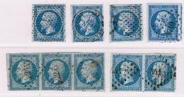 A6b-N°14 Oblit. CàD, Pointillé, Bouchon. Bde De 3,  Paire.  Sans Défaut - 1853-1860 Napoléon III.