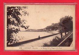 50-CPA CARTERET - LA ROUTE DE LA PLAGE ET LE FORT - Carteret