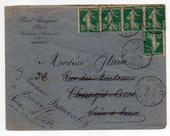 """1920--lettre De WASIGNY-08 Pour AVON-77 Réexpédié MEREVILLE--type Semeuse X 5 --personnalisée""""Bosquet-notaire"""" - 1877-1920: Semi Modern Period"""