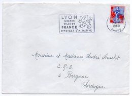 1960--lettre De LYON-69 Pour BERGERAC-24--type Semeuse à La Nef --Belle Flamme  (lion) - 1921-1960: Période Moderne
