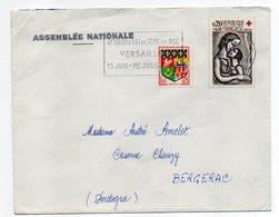 1962--lettre De VERSAILLES-78 Pour BERGERAC-24--tp Blason+Croix-Rouge-flamme Temporaire 4ème Salon D'Art-Assemblée Natio - Marcophilie (Lettres)