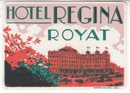 63 - Royat - Hôtel Régina - étiquette De Bagage - Etiquettes D'hotels