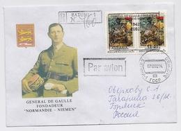 Military Cover Mail Used Post Overprint Charles De Gaulle France Normandie Niemen AIR FORCE Plane 2nd World War Georgia - Militaria