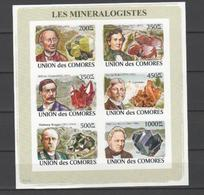 ISOLE COMORE - 2008, Mineralogists 6v M/s Imperforated - Serie Cpl. 1 BF Nuovo** Perfetto - Isole Comore (1975-...)
