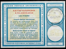 SLOVENIA / YUGOSLAVIA Type XIX  2,50 DINARA International Reply Coupon Reponse IAS IRC Antwortschein O LJUBLJANA 13.3.71 - Slowenien