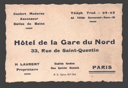Paris - Hôtel De La Gare Du Nord, Rue De Saint-Quentin - 12 X 8 Cm - Visitekaartjes