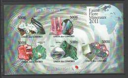 ISOLE COMORE - 2011, FAUNE FLORE MINERAUX  5v. M/s Imperforated  - Serie Cpl. 1 BF Nuovo** Perfetto - Isole Comore (1975-...)
