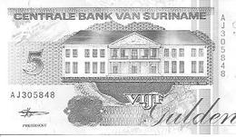 Suriman  P-136b  5 Gulden  1998 UNC - Surinam