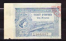 FRANCE TICKET ENTREE EXPOSITION UNIVERSELLE 1900 PARIS - Tickets D'entrée