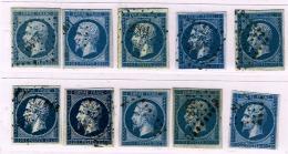 A7b-tous Sans Défaut . Bleu Ciel, Laiteux, Bleu Noir, Filet Absent, Impression Usée Légende Presque éffacée, Type II - 1853-1860 Napoleon III