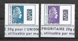 France 2018 - Yv N° 5270 Et 5271 ** - Marianne L'engagée D'Yseult - Surchargée (valeurs Europe Et Monde) - France
