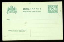 2x BRIEFKAART VOORDRUK 2 1/2 Ct Nvph Nr 55 Ongebruikt + BETAALD ANTWOORD  (11.448g) - Postal Stationery