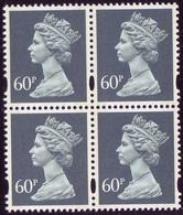 1994 GB Machin Block Of 4 X 60p Dull Blue-Grey With 2 Phos Bands & Elliptical Perforations Lithography  SG Y1784 UM/MNH - 1952-.... (Elizabeth II)