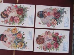 4 CPA - Illustrateur : LITTLE PITCHE - SOUHAITS FLEURIS - Pub TALONS WELCOME Au Dos - Illustrators & Photographers