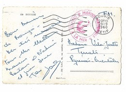 Cachet Rouge MARINE NATIONALE SERVICE A LA MER 1960 BOUGIE - Marcophilie (Lettres)