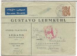 WW2 SWITZERLAND LUGANO 1943 TO TRELLEBORG SWEDEN GERAM CENSOR AND CHEMICAL CENSORED - Schweiz