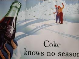 Coca Cola Plakat Werbung Winterlandschaft Skifahrer - Affiches Publicitaires
