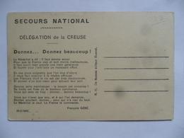 (Creuse - 23) - Secours National (Pétain) Délégation De La Creuse (Appel à Donner...) Sur Carte D'AUBUSSON.............. - Aubusson