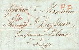 LAC D'ANVERS 10/07/1847 En PORT PAYE Trait Oblique Rouge Vers LIEGE H. DESSAIN éditeur-imprimeur Lettre Signée J. BEERTS - 1830-1849 (Belgique Indépendante)