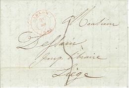 LAC D'ARLON 21/05/1847 Vers LIEGE H. DESSAIN éditeur-imprimeur-taxée 5 Décimes-signée EVERLING Imprimeur-libraire ARLON - 1830-1849 (Belgique Indépendante)