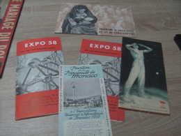 Expo 58 : Un Lot De 5 Documents Urss Principauté De Monaco, Ciments D'obourg, Rwanda Urundi - Programmes