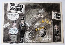 Dessin Signé 1988 Le Tunnel Sous La Manche The Channel Humour Caricature Policier - Dessins