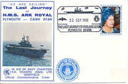 Great Britain Special Ship Cover The Last Journey Of H.M.S. Ark Royal Plymouth Devon 22-9-1980 Number 2502 Of 3000 Cove - 1952-.... (Elizabeth II)