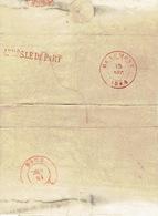 LAC De BEAUMONT 13/12/1847 Vers LIEGE  + Griffe Rouge APRES LE DEPART - 1830-1849 (Belgique Indépendante)