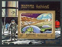 Manama, 1970, Space, Apollo, Cancelled, Michel Block 63A - Manama