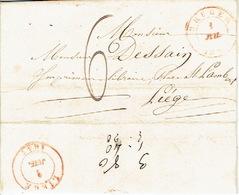 LAC De BRUGES 1/07/1847 Vers LIEGE  H. DESSAIN Drukker - Port De 6 Décimes - Signé L. DEPOORTERE Boekhandelaar Te BRUGGE - 1830-1849 (Belgique Indépendante)
