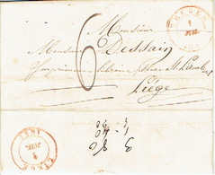 LAC De BRUGES 1/07/1847 Vers LIEGE  H. DESSAIN Drukker - Port De 6 Décimes - Signé L. DEPOORTERE Boekhandelaar Te BRUGGE - 1830-1849 (Belgica Independiente)