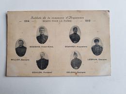 """Ancienne CP/photo """"Soldats De La Commune D'Arquennes Morts Pour La Patrie 1914-1918"""" - Belgique - Militaires/Armée - Seneffe"""