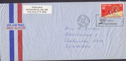 United Nations Via Air Mail Par Avion Slogan Flamme 'FREEDOM & PROGRESS' NEW YORK 1970 Cover Brief Denmark - New York -  VN Hauptquartier